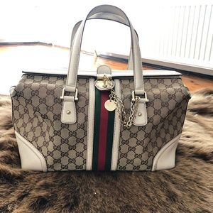 Gucci GG Canvas and White Leather Boston Bag